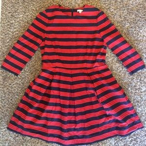 Gap red and navy blue pleated dress 14 w/ pockets!